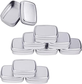 BENECREAT 9 Pack 2.7oz Tin Cans Rectangular Aluminum Containers with Solid Top Lid and Round Smooth Edges for Treats, Favors and Crafts (Platinum)