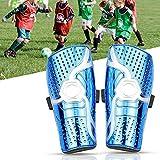 WIKEA Espinilleras de fútbol para niños - Equipo de protección para la Pantorrilla Transpirable para niños de 6 a 12 años, niñas, niños, Adolescentes (Nuevo Azul)