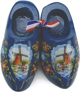 Essence of Europe Gifts E.H.G Decorative Wooden Shoe Clogs Dutch Landscape Design Blue (3.25