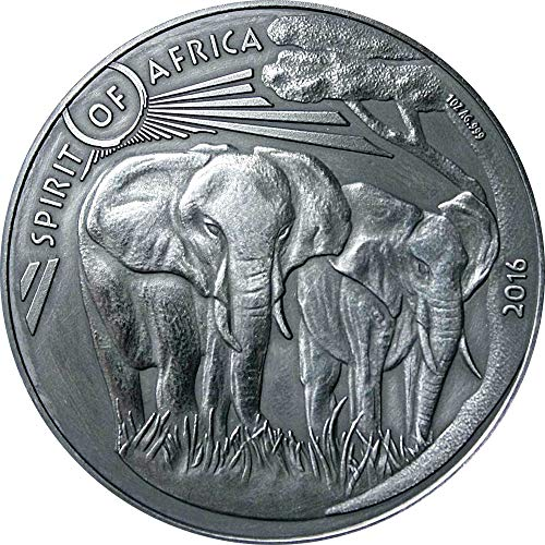 Power Coin Elephant Elefante III Spirit of Africa 1 Oz Moneda Plata 1000 Francos Burkina Faso 2016
