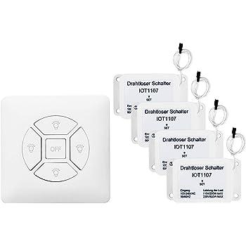 /≤ 500W TSSS Funkschalter Lichtschalter Drahtloser Wandsender f/ür Hotel B/üro ON//OFF Schalter mit 4 Empf/änger Set 433 RF Fernbedienung LED Lampe schnelle Installion,keine St/örung keine Verkabelung