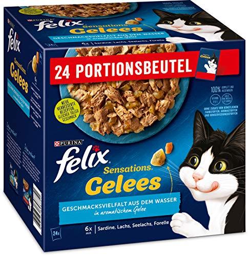 FELIX Katzennassfutter Sensations Gelees Geschmacksvielfalt aus dem Wasser, 4er Pack (4 x 24 x 85g)