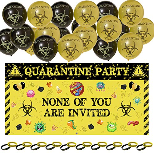 Quarantine Birthday Party Decorations Bundle for Kids & Adults - Banner, Balloons, & Wristbands - Wall or Photo Booth Backdrop - Funny Quarantine Themed Party Decoration Sign / Banners for Door