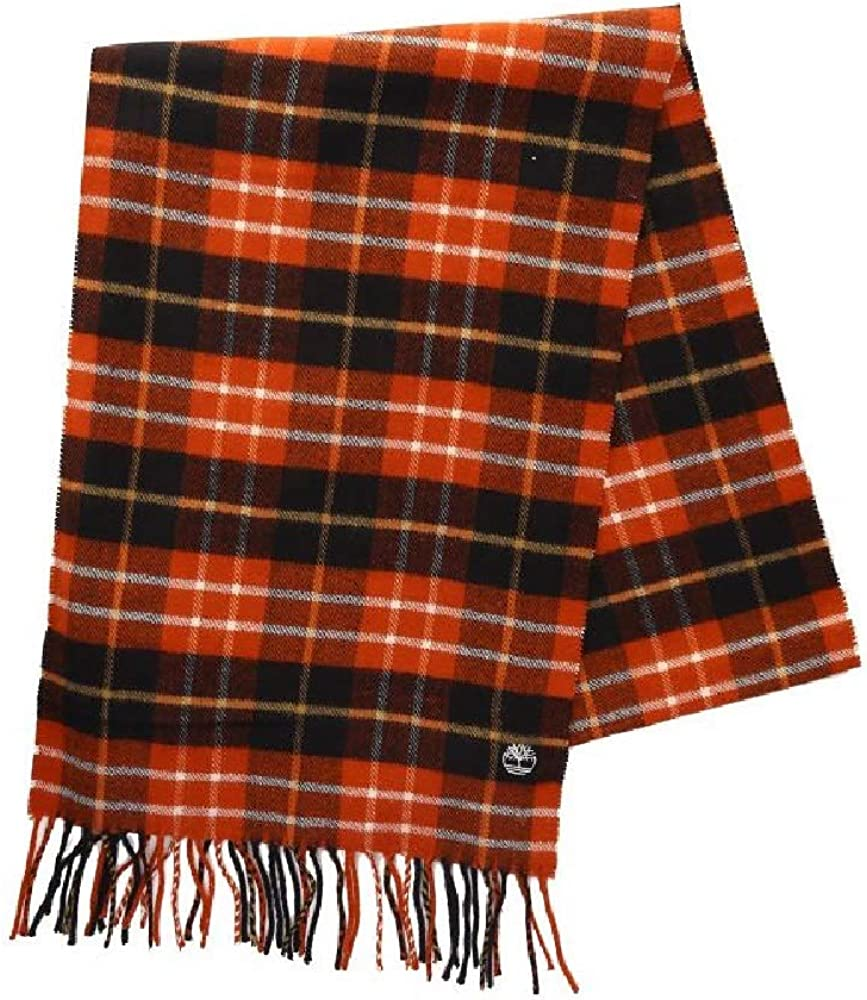 Timberland Mens Plaid Fringe Scarf (One Size) (Red)