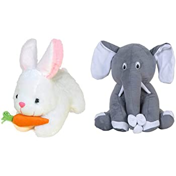 Deals India Rabbit with Carrot and Grey Sitting Elephant - 26 cm, Multicolor