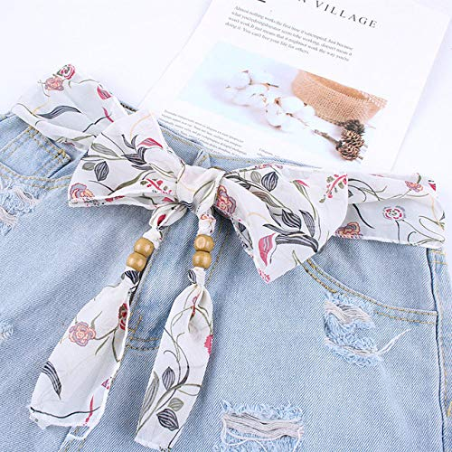 WEIYYY Cinturón de Cintura para Mujer a la Moda, cinturón de Tela Floral para Mujer, Cinturones de Vestir para Mujer, cinturón Decorado con fajín, Jeans, H, 160 cm