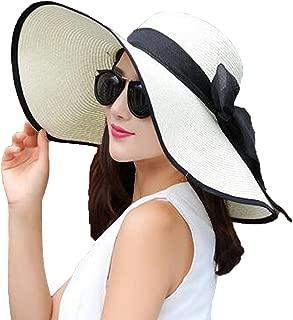 Women Big Bowknot Straw Sun Hat Floppy Foldable Roll up UV 50+ Beach Cap