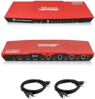 TESmart HDMI 4K Ultra HD 4x1 HDMI KVM Switch 3840x2160@60Hz 4:4:4 with 2 Pcs 5ft KVM Cables Supports USB 2.0 Device Contro...