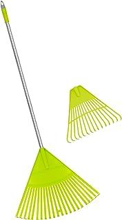 Colwelt Plastic Leaf Rake Set, Garden Poly Shrub Rake with 56'' Lightweight Stainless Steel Handle, Durable Plastic Head 2...