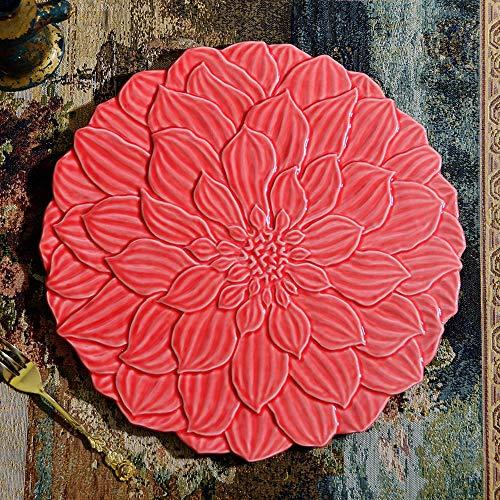Hosoncovy Plato de cerámica con relieve de loto para postre en relieve,...