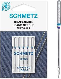 SCHMETZ Agujas para máquina de coser de tela vaquera 130/705 H-J, NM 100/16, 5 piezas