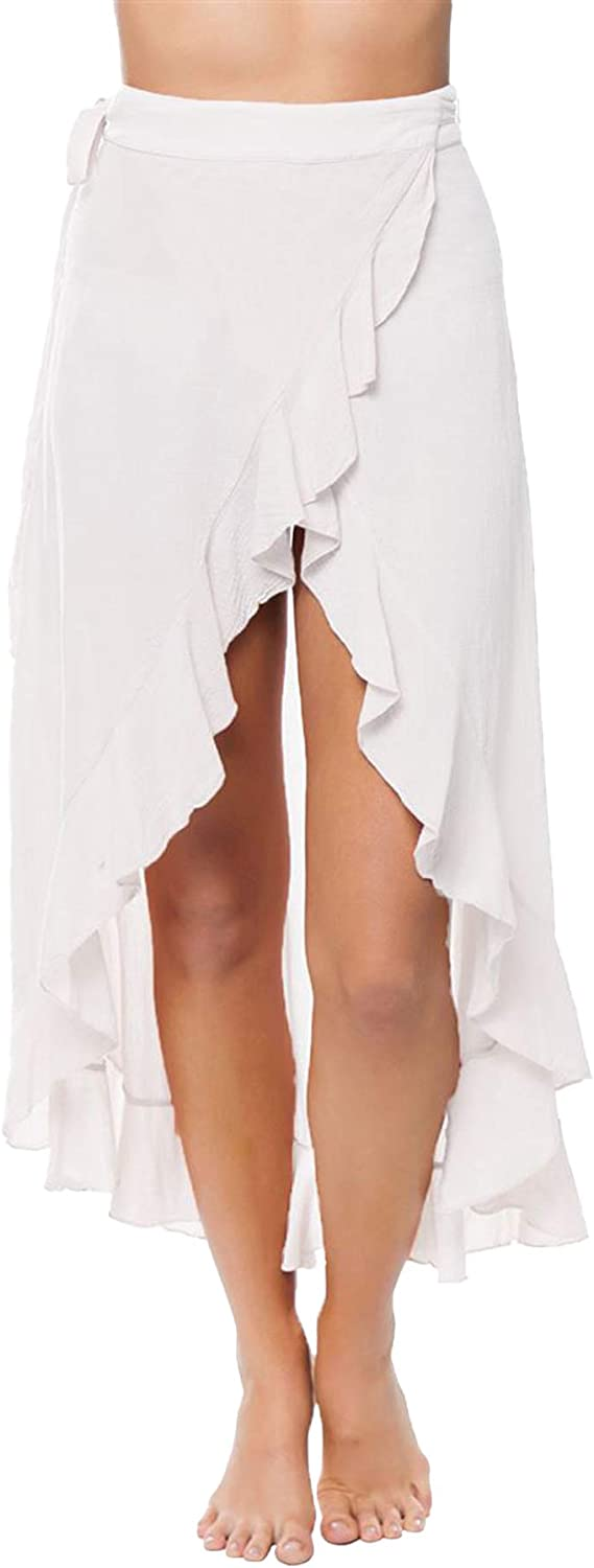 9Seeds - Tulip Hem Ruffle Skirt White Color   100% Cotton Fabric Material for Women.