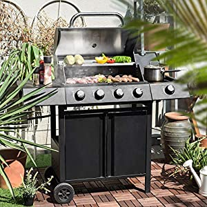 Ribelli® Gasgrill Grillwagen BBQ Edelstahl-Brenner + Seitenkocher Gas-Grill Schwarz für Party, Garten, Camping (4+1 Gasgrill) (4er Gasgrill mit Seitenbrenner)