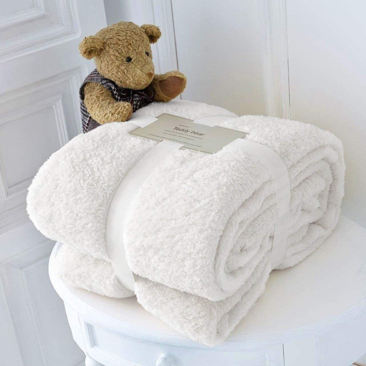 Teddy Bear Fleece Blanket BLUSH PINK Duvet Bedspread cuddly soft Bed Sofa Warm