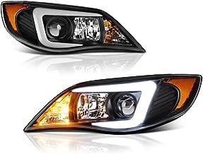 [For 2008-2014 Subaru Impreza WRX STI D2S Xenon HID Model] VIPMOTOZ C-Shape OLED Neon Tube Black Projector Headlight Headlamp Assembly, Driver & Passenger Side