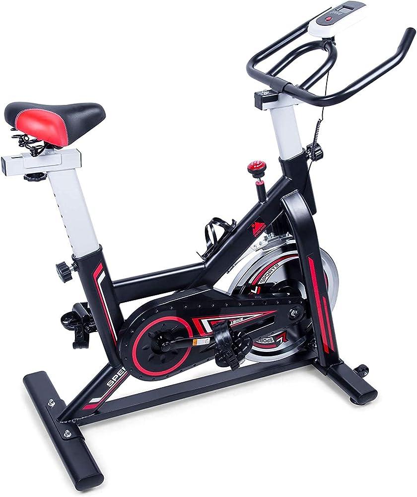 Evoland, cyclette, bici da spinning con resistenza illimitata, nera-rossa, display lcd