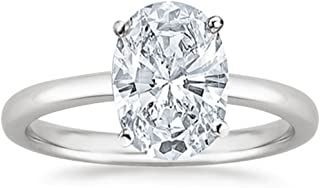 1 Ct Oval Cut Solitaire Diamond Engagement Ring 14K White Gold (I Color VS2-SI1 Clarity)