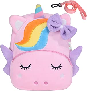 Toddler Backpack,VASCHY Girls Cute Plush Animal Small Daycare Backpack for Little Kids Pink Unicorn