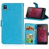 Funda BQ Aquaris E4.5 4.5inch,Bookstyle 3 Card Slot PU Cuero Cartera para TPU Silicone Case Cover-Azul