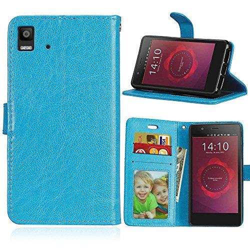 BQ Aquaris E4.5 Hülle, SATURCASE Glatt PU Lederhülle Magnetverschluss Flip Brieftasche Handy Tasche Schutzhülle Handyhülle Hülle mit Standfunktion & Kartenfächer für BQ Aquaris E4.5 (Blau)