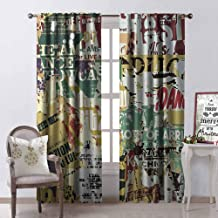 GloriaJohnson Retro Heat Insulation Curtain Grunge Style Collage Print of Old Torn Posters Magazines Newspapers Paper Art Print for Living Room or Bedroom W42 x L63 Inch Multicolor