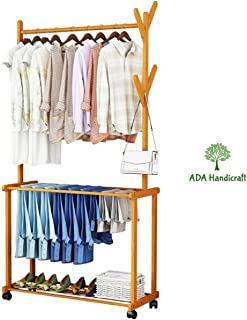 ADA Handicraft Rolling Coat Rack, Bamboo Garment Rack, Clothes Hanging Rail with 2 Shelves 4 Hooks, for Shoes, Hats and Scarves, in The Hallway, Living Room, Guest Room (Size : 80x37x175cm)