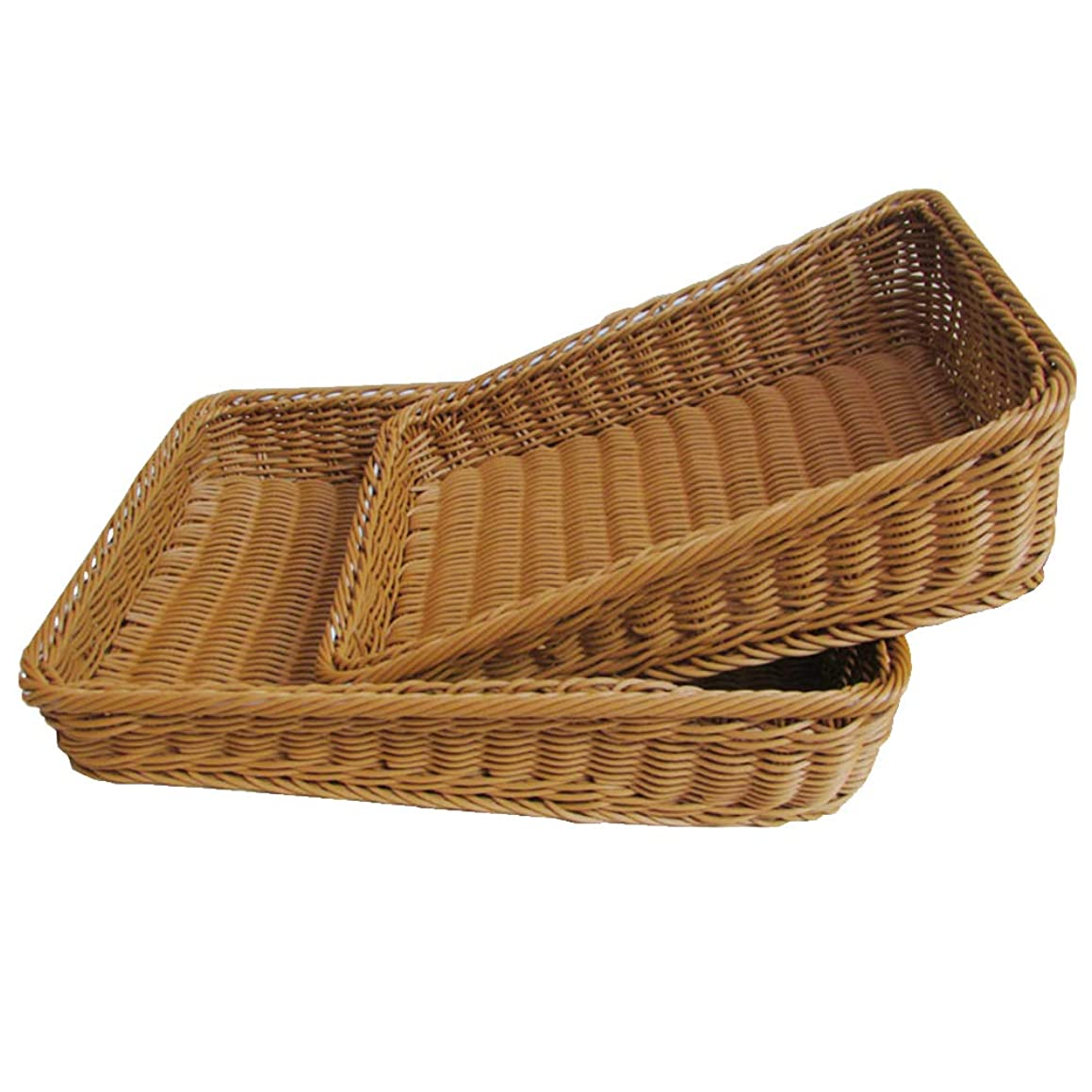 Wicker Bread Basket, Rectangle Imitation Rattan Tray for Food Serving Restaurant Kitchen Coffee Table Display Decoration Baskets Fruit Snacks Container, Storage Basket(30X20X6cm)