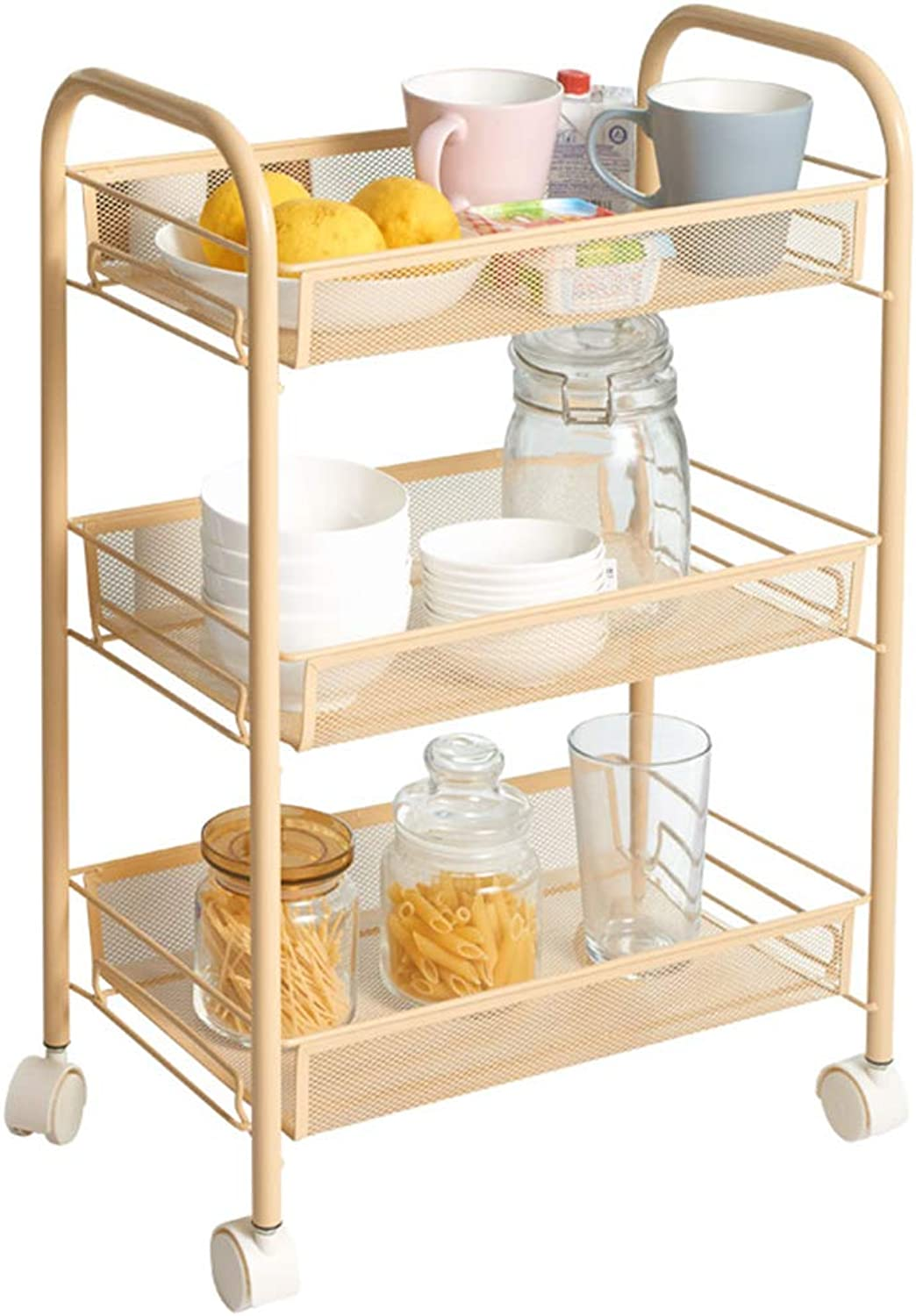 3-Layer Caster Kitchen Rack Move Trolley Living Room Bedroom Storage Rack Coffee color Serving Carts