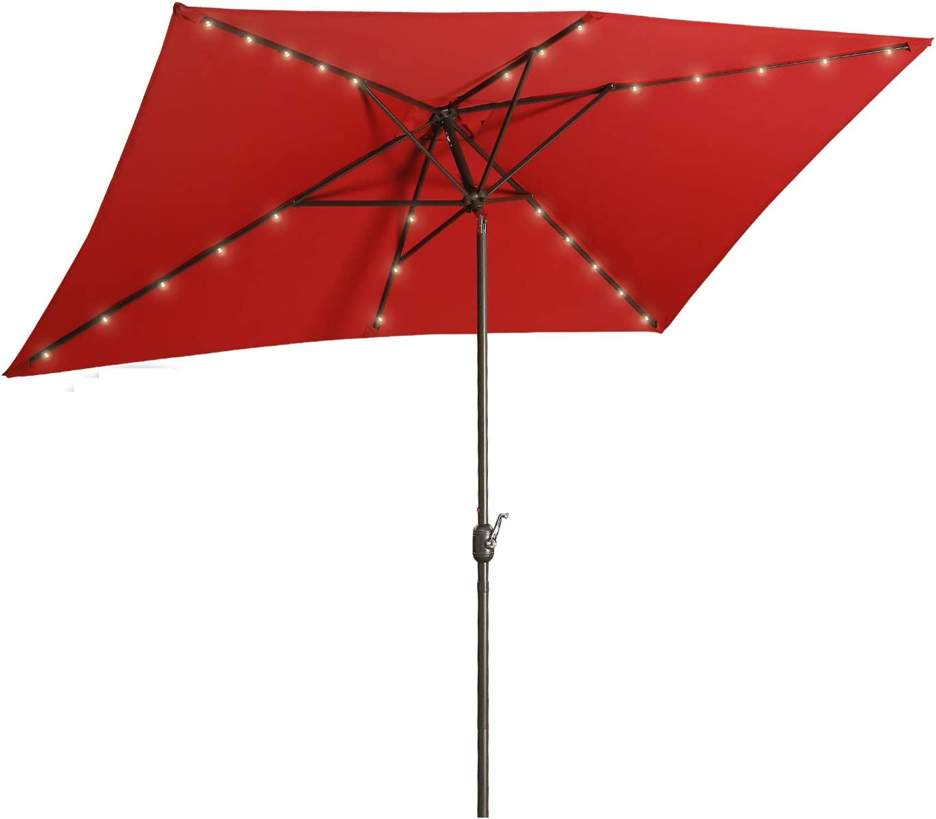 Aok Garden 6.5×10 ft Rectangular Patio Umbrella with Solar Lights Outdoor Table Umbrella with Push Button Tilt & Crank 6 Sturdy Ribs for Market Deck Backyard, Red