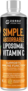 Zorbz Liposomal Vitamin C - Purity Products - 1,000 mg Orange-Sherbet Flavored Creamy Liquid Vitamin-C - Fermented, Made W...