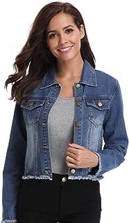 Women's Denim Jacket Button Down Long Sleeve Frayed Jean Jackets