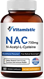Sponsored Ad - Vitamistic NAC N-Acetyl-L-Cysteine 750mg, 90 Veggie Capsules, Antioxidant Glutathione Precursor, Supports L...