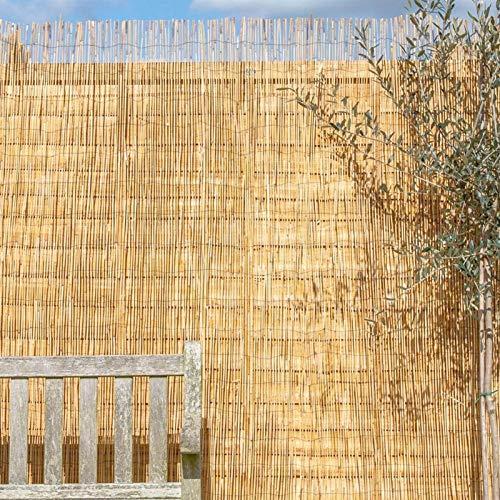 Cocinas Terrazas Pabellones Persiana Bambu Exterior De Caña, Personalizable Toldo Vertical, Color Natural Cortina Enrollable De Madera, Montaje Sin Perforación, Con Polea, Ventilación, Circulación Aér
