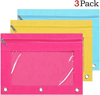 3pcs Large Capacity Binder Pencil Pouches, Canvas Pen Cases and Zippered Pencil Bags with Clear Window, 3 Ring Pencil Pockets Pouch in Assorted Colors for School Supplies (Blue Yellow Pink)