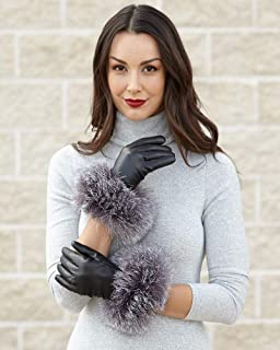 frr Fox Fur Trim Wool Lined Leather Gloves