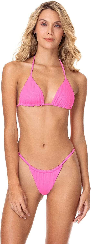 Maaji Women's Standard Aurora Pink Balmy Bikini Sliding Triangle
