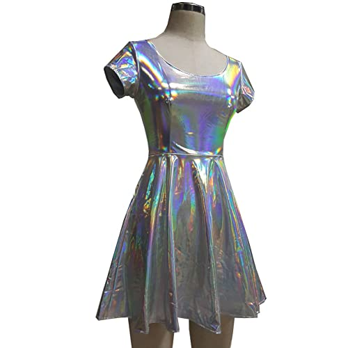2e15b567fdc Pinda Holographic High Waisted Flare Skater Dress (S
