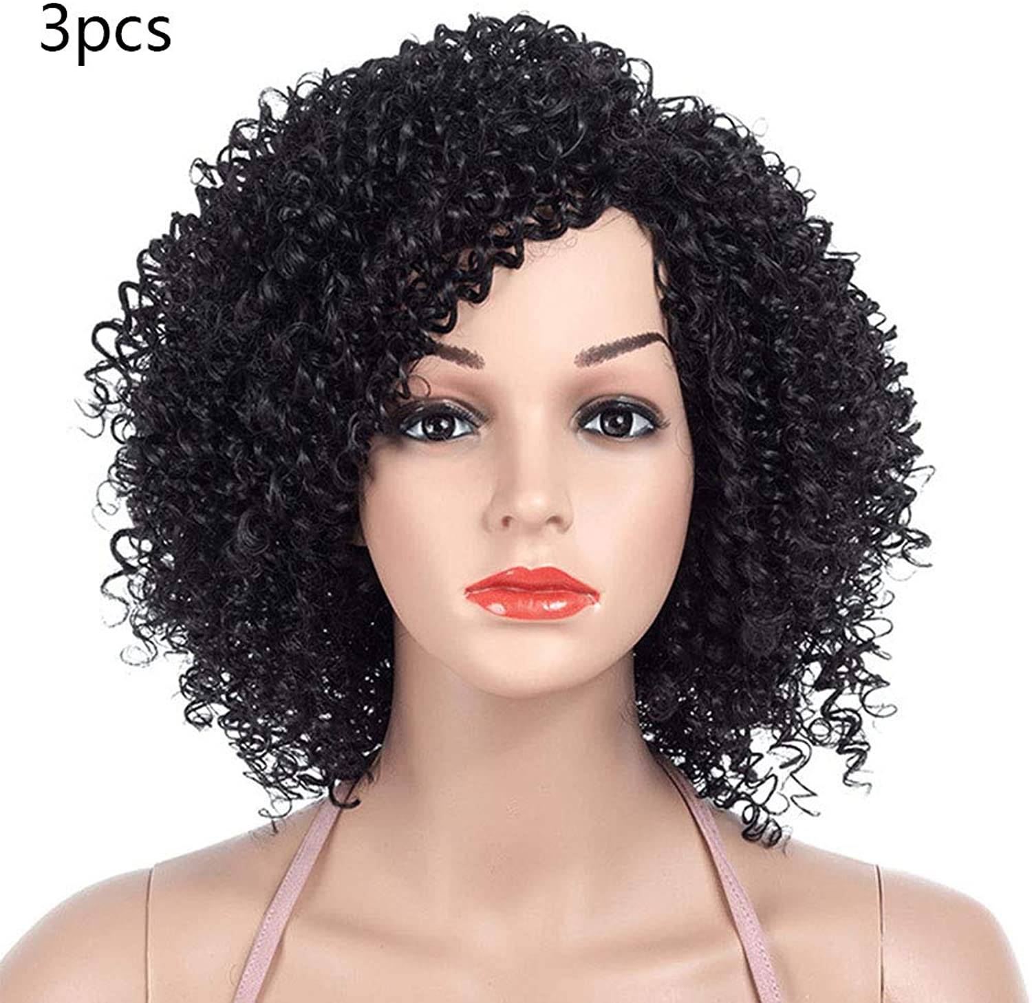 Hairpieces Small Roll Of Long Wig Heat Resistant Fiber Hairpiece Adhesives Synthetic Lace Party Wigs Costumes Accessories(Small Roll Black 3PCS)