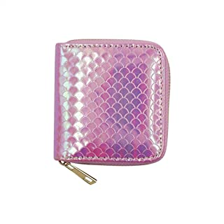KINGSEVEN Sequin PU Leather Purse Credit Card Holder Wallet with Zipper for Women Girls
