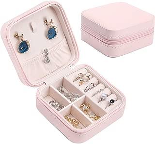 ジュエリーボックス 小型 携帯 アクセサリー 収納 宝石 箱 アクセサリー 収納ケース PUレザー(ピンク, S)