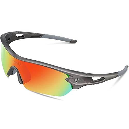 d133c47dff5 TOREGE Polarized Sports Sunglasses with 5 Interchangeable Lenes for Men  Women Cycling Running Driving Fishing Golf