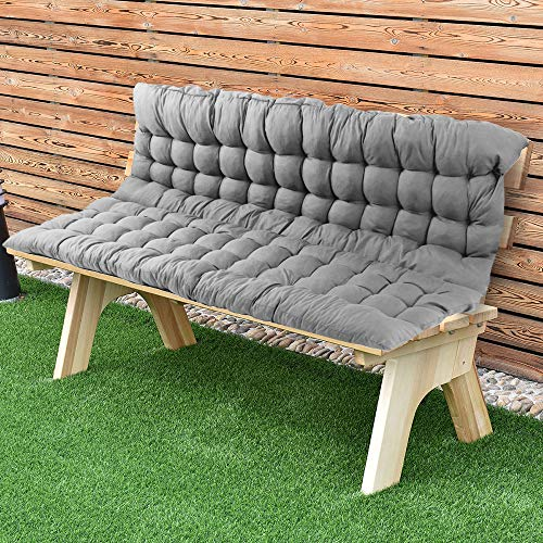 "Scorpiuse Soft Bench Cushions with Backrest Non-Slip Bench Pads with Ties Indoor/Outdoor Swing Chair Tatami Floor Loveseat Cushion for Dining, Patio, Camping, Kitchen Benches (39""x59"", Grey)"