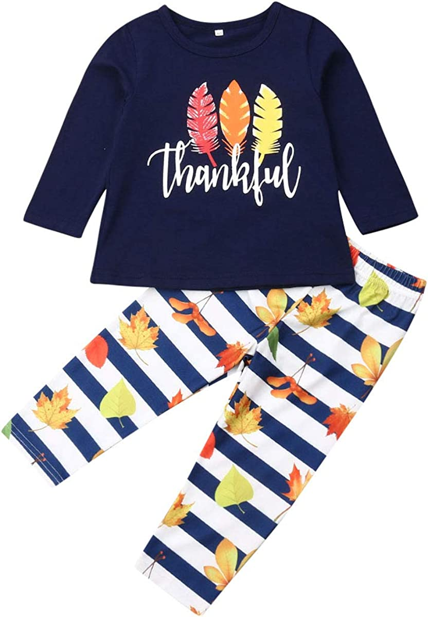 Toddler Kid Baby Girls Thanksgiving Outfits Turkey Long Sleeve Top Dress Pants Leggings Clothes Set 1-7Y