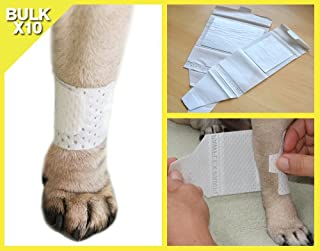 PawFlex Basic Leg Bandages for Dogs, Cats, Pets -First- aid Non Adhesive Fur Friendly, Soft Stretch Wound Care, hot Spots, Fungus, Velcro Fastener. Value Pack of 10 (5 Standard Width, 5 Wide Width)