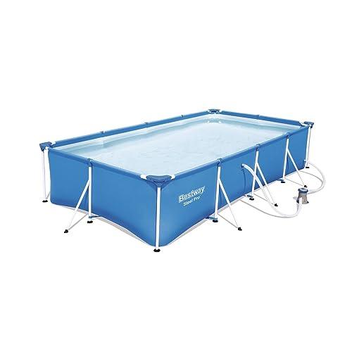 Bestway Steel Pro Frame Pool Set, rechteckig, blau, 400 x 211 x 81 cm