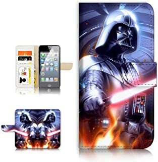 (for iPhone 5 5S / iPhone SE) Flip Wallet Case Cover & Screen Protector Bundle - A21614 Starwars Darth Vader