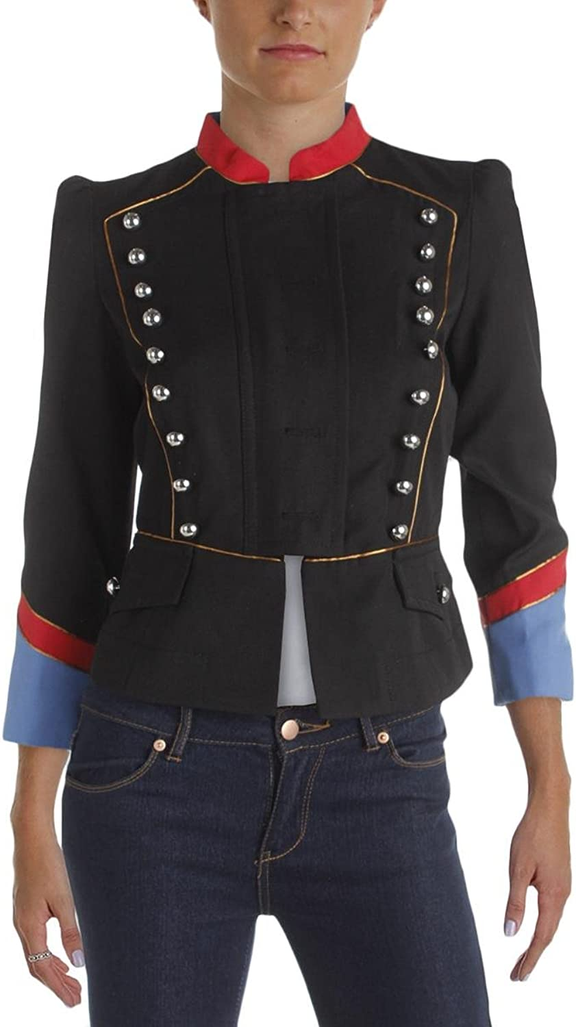 Marc by Marc Jacobs Womens Victorian Peplum colorblock Military Jacket