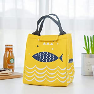 Portable Lunch Bag New Oxford Thermal Insulated Lunch Box Tote Cooler Handbag Bento Pouch Dinner Container School Food Storage Bags Picnic - DubiDubi (Yellow)