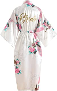 YAOMEI Glitter Bride Bridesmaid Robes Dressing Gown Kimono, Womens Satin Party Peacock Blossoms Bathrobe Nightdress Nightg...