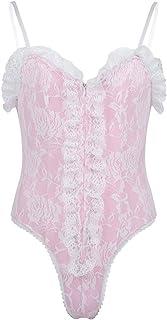 YOOJIA Men's Sissy Crossdressing Lingerie Ruffles Floral Lace Teddy Bodysuit Nightwear Pajamas